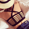 Newest women sexy back hollow out halter bralette top strappy bra womens fashion cropped tops fitness padded bras camisole