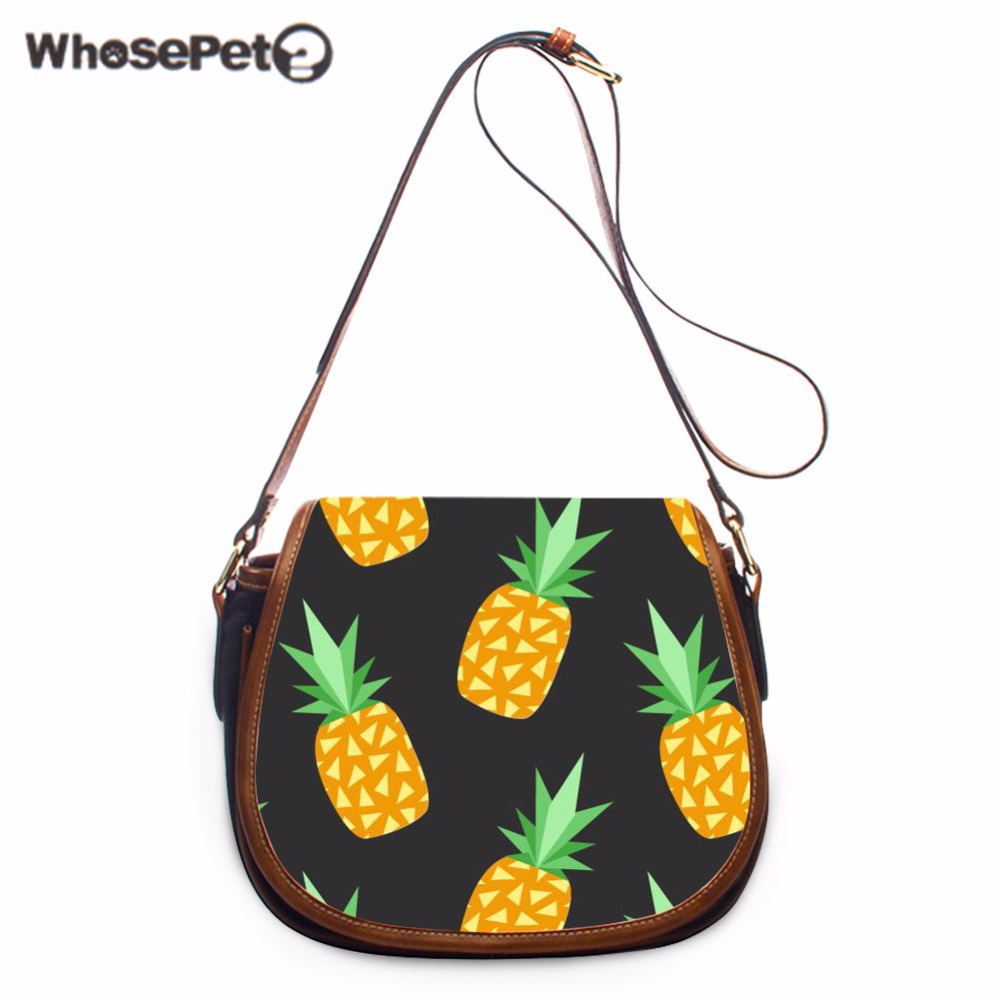 WHOSEPET Pineapple Messenger Bag Female Mini Crossbody Purse Leisure Sling Bag Women Pu Shoulder Bag Small Bolsas femininas New женские блузки и рубашки hi holiday roupas femininas blusa blusas femininas