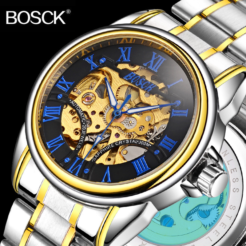 BOSCK Top Brand Luxury Men Sport Automatic Watch Steel Skeleton Mechanical Watches Waterproof Self Wind Clock Hollow Wristwatch mce automatic watches luxury brand mens stainless steel self wind skeleton mechanical watch fashion casual wrist watches for men