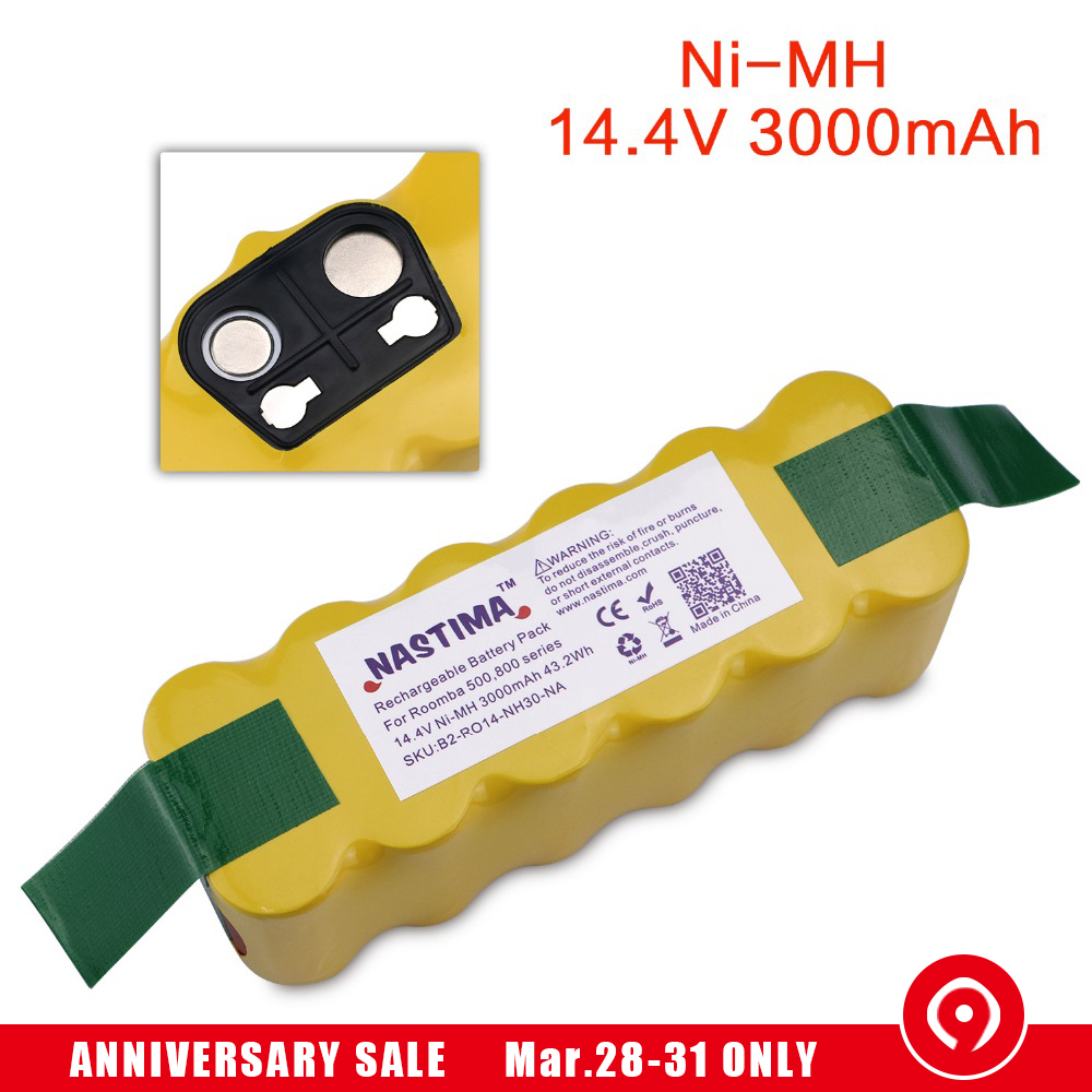 NASTIMA Replacement 3000mAh Battery XLife Extended for iRobot Roomba 500 600 700 800 Series Vacuum Cleaner