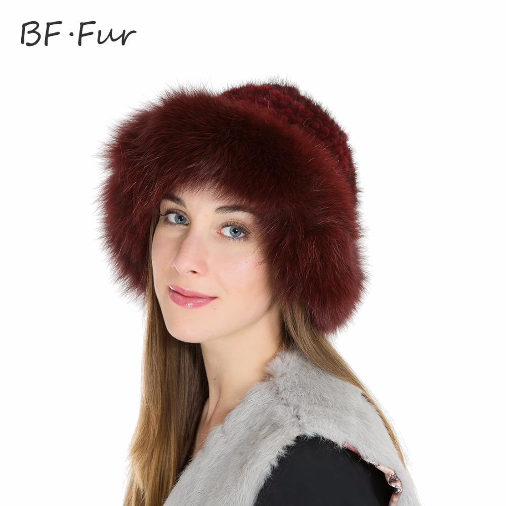 BFFUR New Mink Fur Bucket Hat Female Real Knitted Mink Fur Hat Beanies Fashion Hat Brand Women Autumn Winter Warm Hat BF-M0007