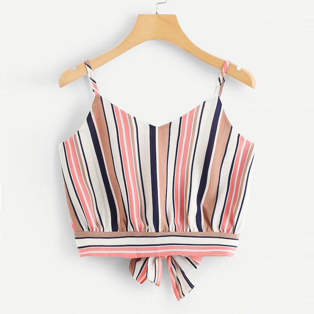 Tank     Top   Women Camisole Fashion Solid Ladies Sexy CropTop Summer Self Tie Back V Neck Sleeveless Stripe   Tops   Feminino 19JAN14
