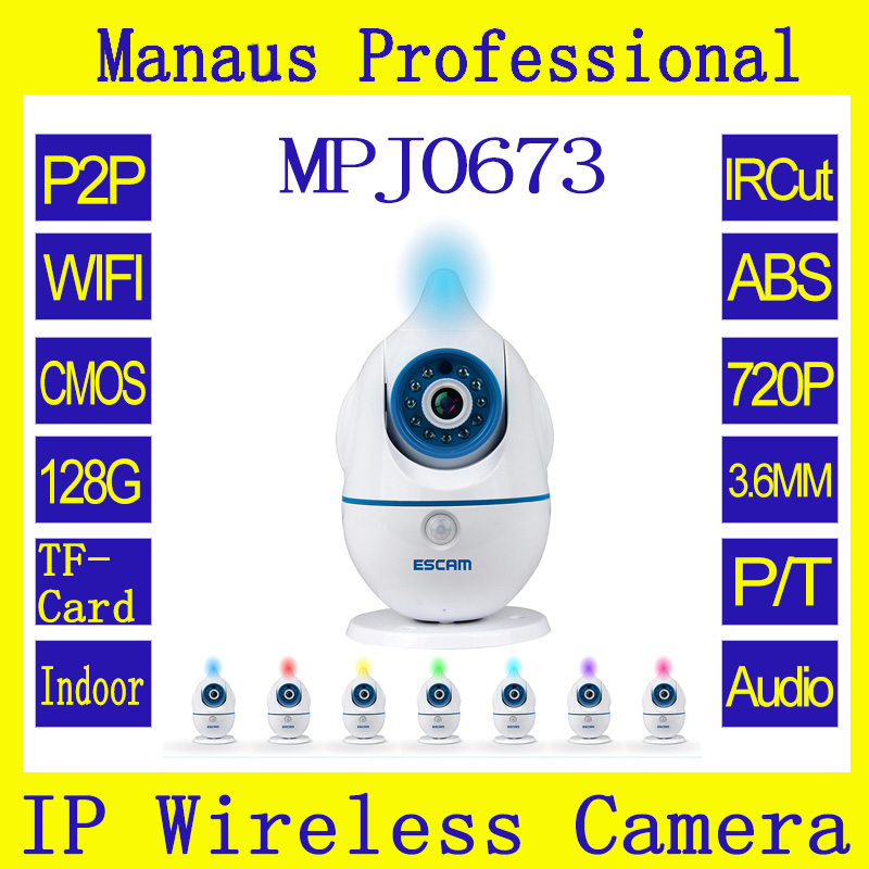 ФОТО New Style 720P IP CAM ESCAM QF521 Indoor camera support 128G Card Support buzzer/record/snapshot/email/mobile push to Alarm J673