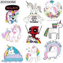 ZOTOONE Cute Unicorn Patches For Children Clothing DIY Decoration Iron On Transfers Washable Accessory New Design Heat Press