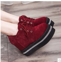 Free shipping 2015 han edition of the new age season low help suede wedges sponge with female high-heeled shoes