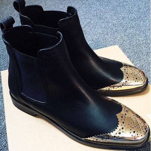 Popular Black and Gold Flat Boots-Buy Cheap Black and Gold Flat ...