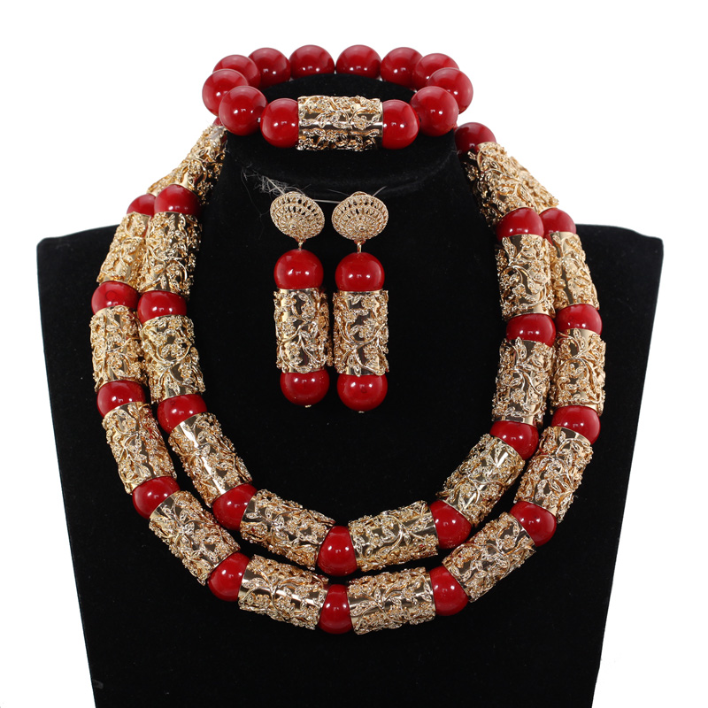 HTB1TOdwmY5YBuNjSspoq6zeNFXaH Luxury Dubai Gold Bold Statement Necklace Jewelry Set Red African Beads Wedding Nigerian Costume Jewellery Set WE182