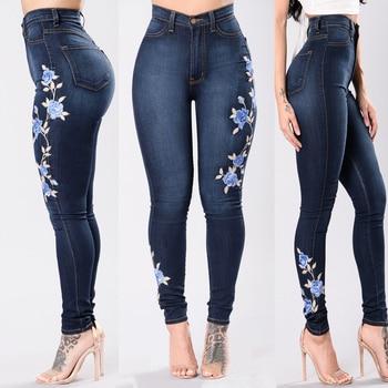 Nibesser Flower Embroidered Elastic Denim Pencil Pant Women Jean Female sexy skinny Jeans Pant Pantalon Women bottom trouser 1