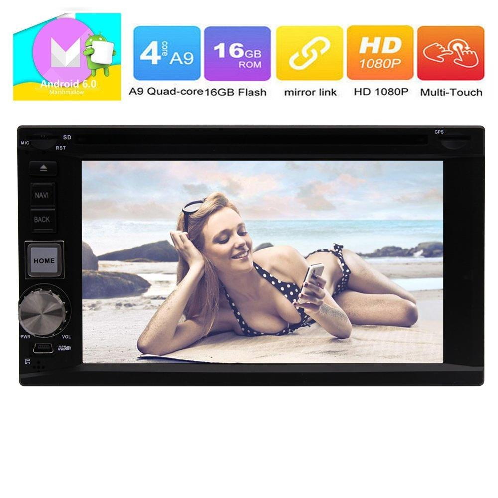 Android 6.0 Headunit 2 Din Car GPS radio Stereo Support GPS Radio Steering Wheel Control Bluetooth DVD USB (Car stereo with GPS)