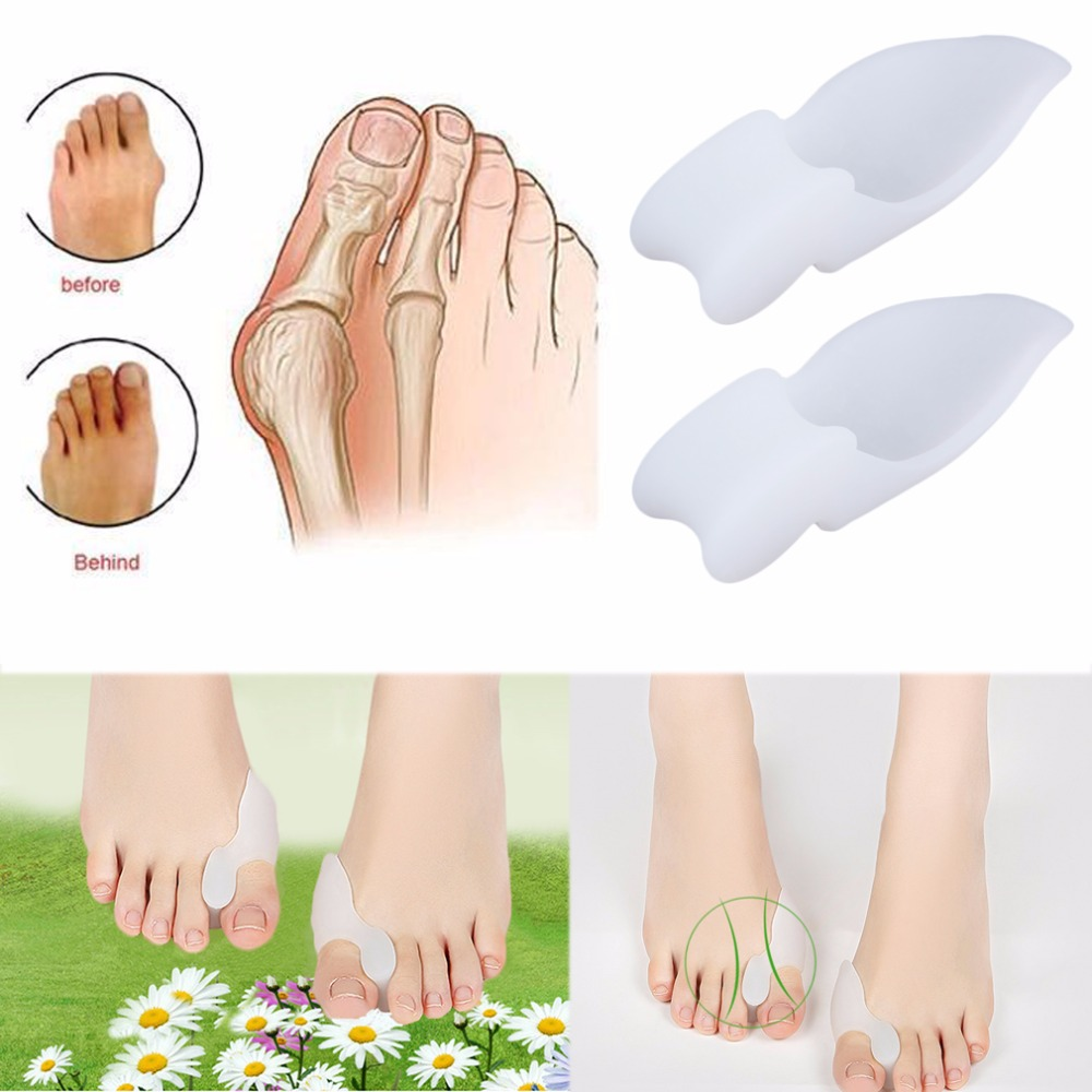 2pcs Silicone Gel Foot Pad Stretch Corrector Alignment Toe Bone Insole New Arrival