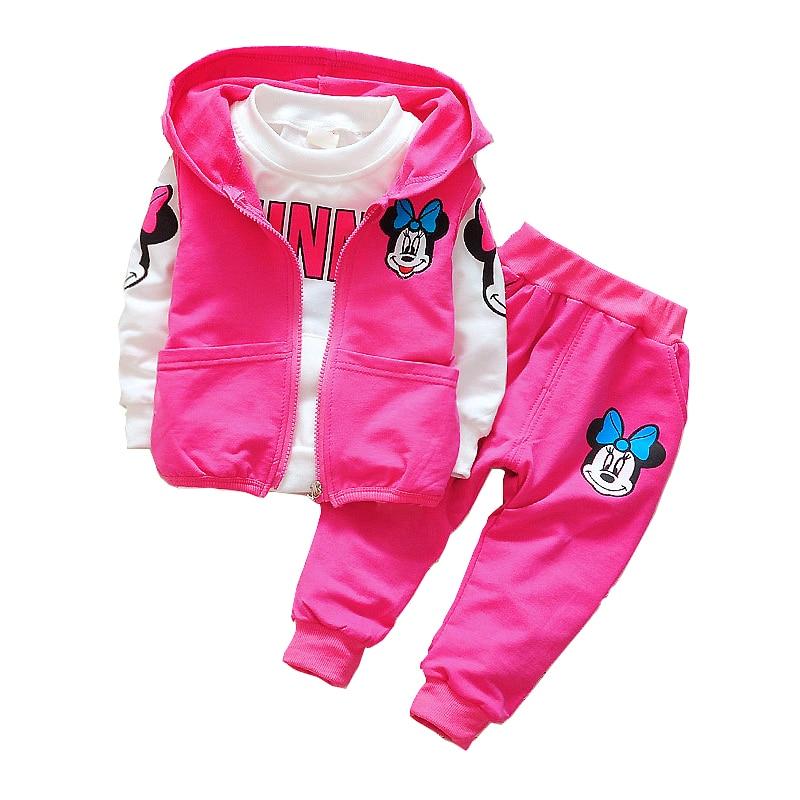2018 crianças do bebê minnie kleding conjunto de jardim de infância herfst 3 stuks conjuntos capuchon jas colete pakken katoen jongens desenho animado kleding