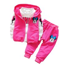 2018 Baby Kids Meisjes Minnie Kleding Set Kinderen Herfst 3 stuks Sets Capuchon Jas Vest Pakken Katoen Jongens Cartoon kleding 10pcs sensor sensitive photoelectric home independent alarm smoke detector fire alarm alone sensor for family guard