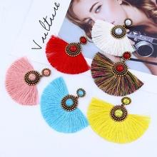 Women Jewel earrings ethnic handmade women tassel bohemian statement luxury long  tassle earring geometric fringe