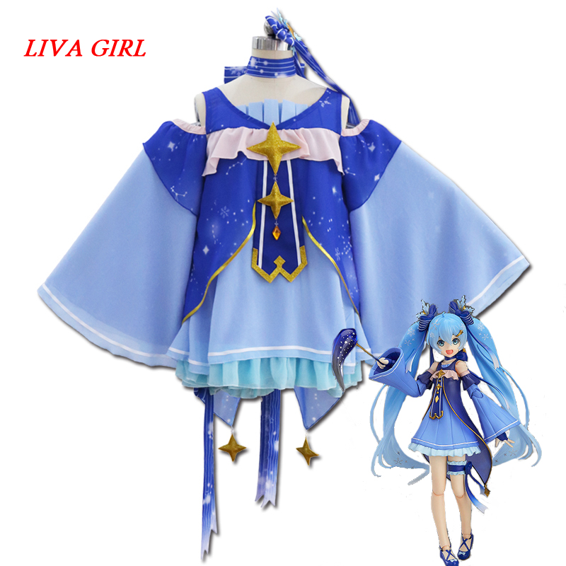 Liva girl 2018 High Quality Cosplay Snow Miku Hatsune Star Princess Dress Cosplay Costumes Kit Japanese Mid Dress Set Dresses