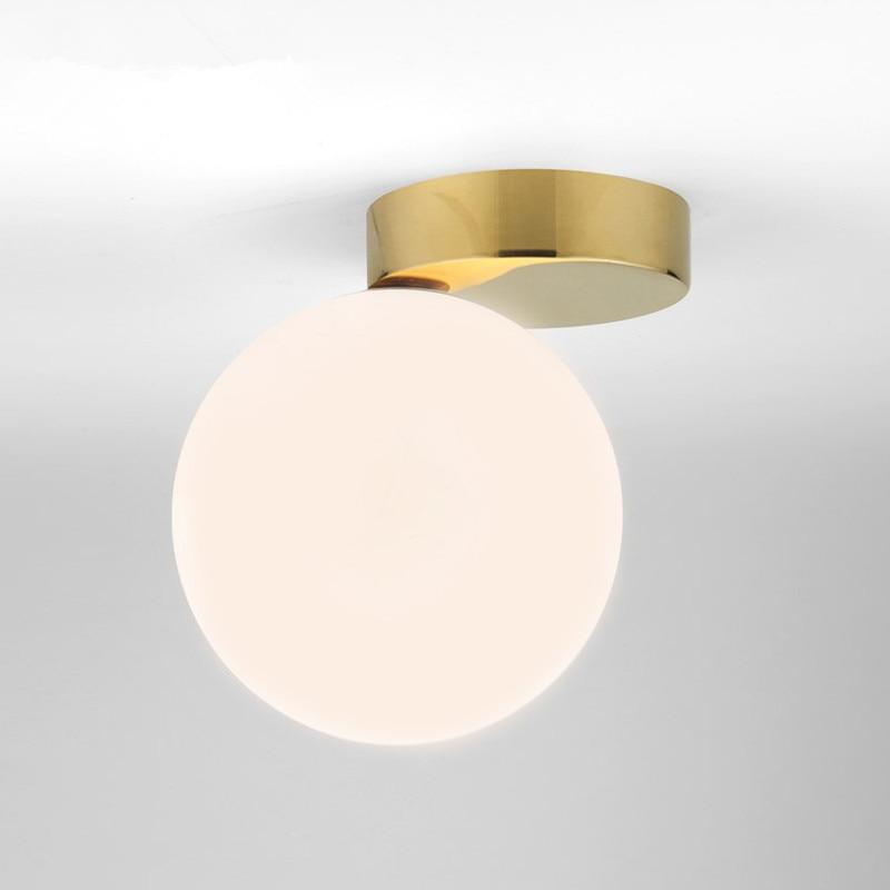 Nordic белый стеклянный шар потолочный светильник коридор мода простой коридор гардероб всасывания лампа