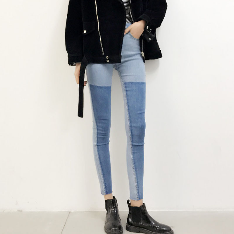 The new 2016 Fashion College of the wind was thin waist pencil stitching hit color jeans