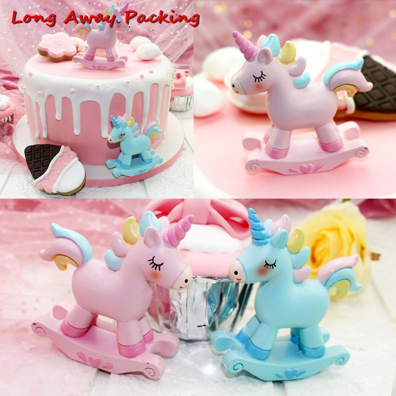 Long Away Packing Unicorn Cake Topper Baby Shower Birthday Party Decor Children Kids Christmas Party Cake Decor Supplies