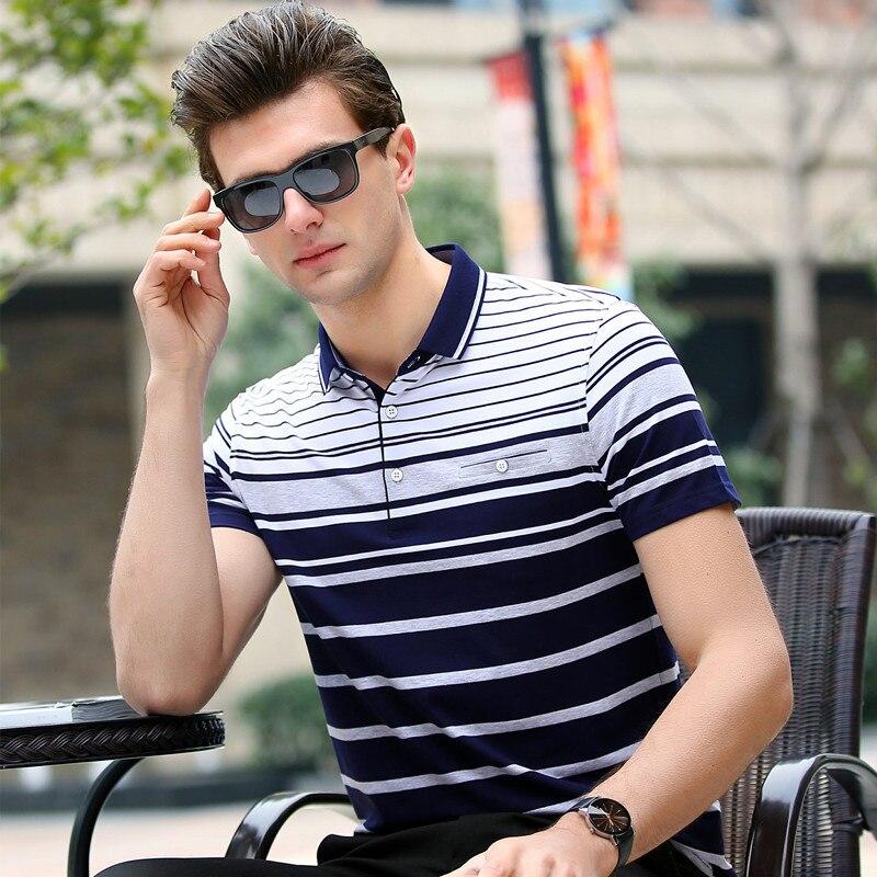 2018 Hochwertigen Polo-shirt Männer Baumwolle Neue Sommer Business Casual Striped Kurzarm Brathable Stickerei Homme Camisa 8871 Angenehm Bis Zum Gaumen