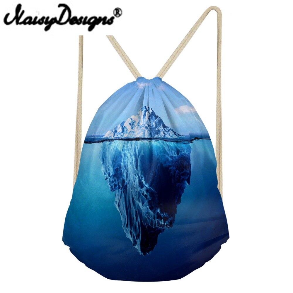 NOISYDESIGNS 3DIceberg Printed Drawstring Backpack For Men Women School Bags Water Element Travel Rucksack Unisex Pouch Mochila