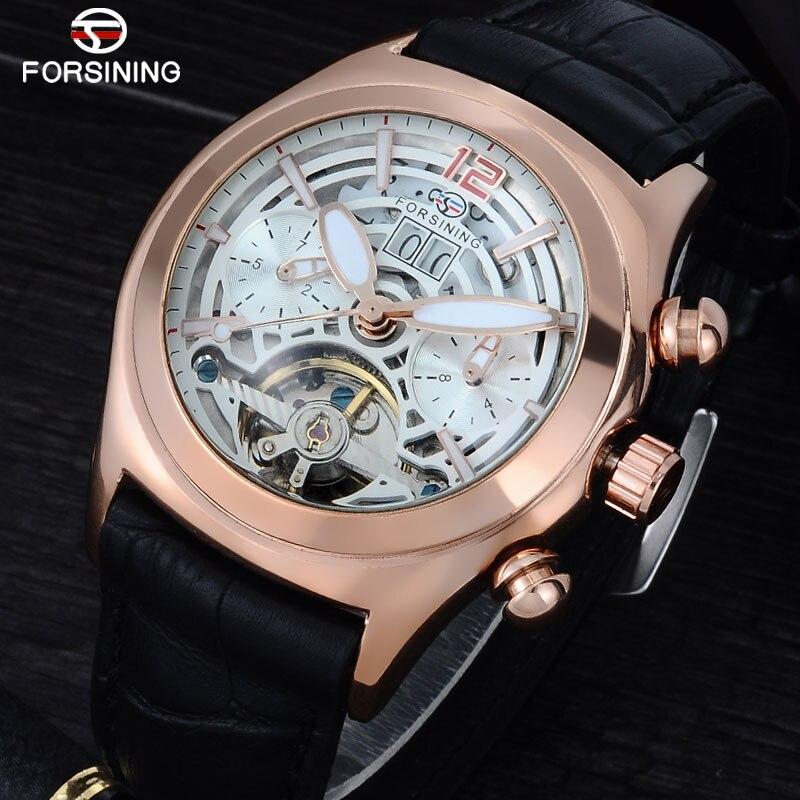 Forsining Convex Glass Stylish Tourbillion 3D Designer Genuine Leather Strap Mens Watches Top Brand Luxury Automatic Watch Clock