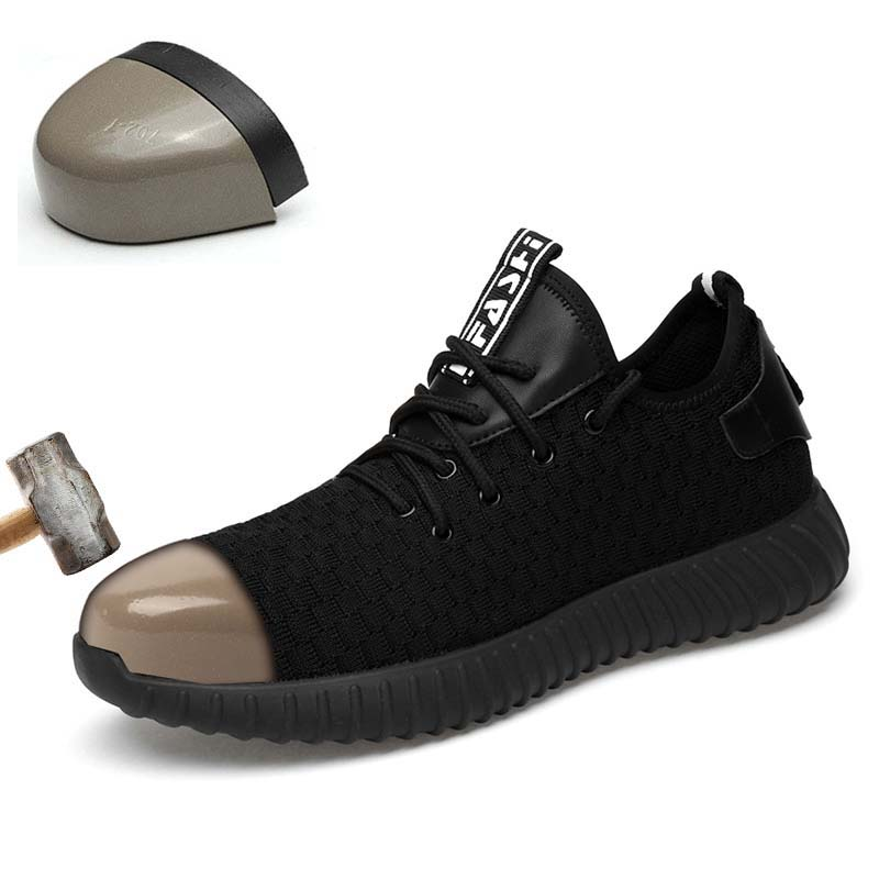 DAOKFPO Men Fashion Safety Shoes Breathable flying women Anti smashing steel toe caps Anti piercing fiber