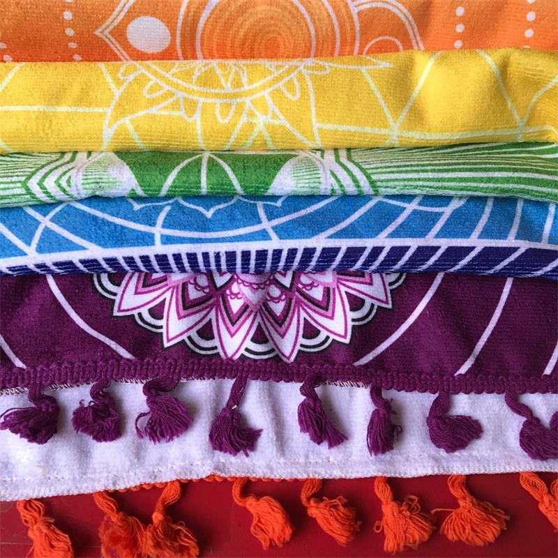 Microfiber Fabric Material Bohemia India Mandala Blanket 7 Chakra Rainbow Stripes Tapestry Beach Towel Yoga Mat Bath Towel