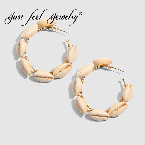 JUST FEEL ZA 2019 Sea Conch Shell Dangle Earrings Jewelry for Women Summer Special Gifts Wedding Party Conch Statement Earrings Lahore