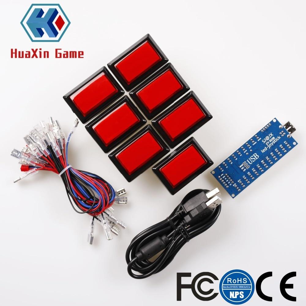 Arcade Game Kit DIY Rectangular LED Illuminated Push Button + Zero Delay USB Encoder Cable For Beatmania Lidx Video / Raspberry цена