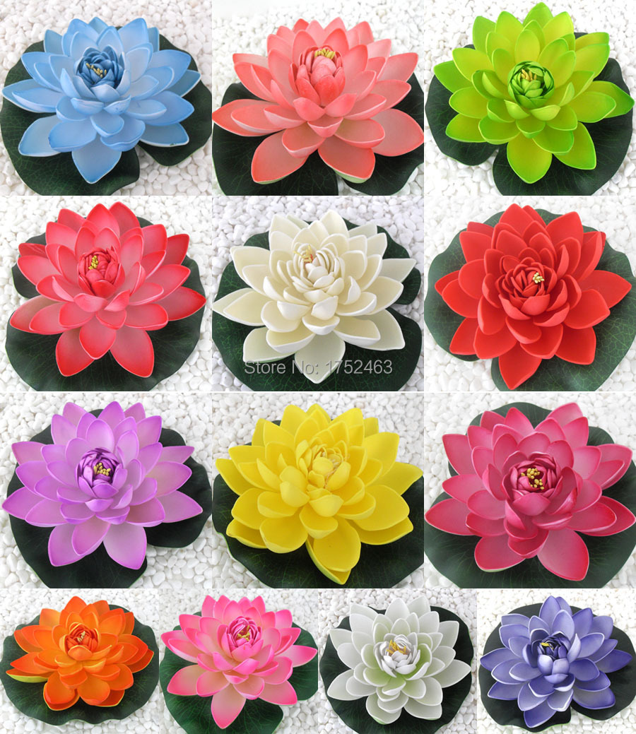 Lotus wedding flowers promotion shop for promotional lotus wedding 3pcs artificial fake lotus flowers lily water floating wedding pool decoration floral 17cm b12 dhlflorist Image collections