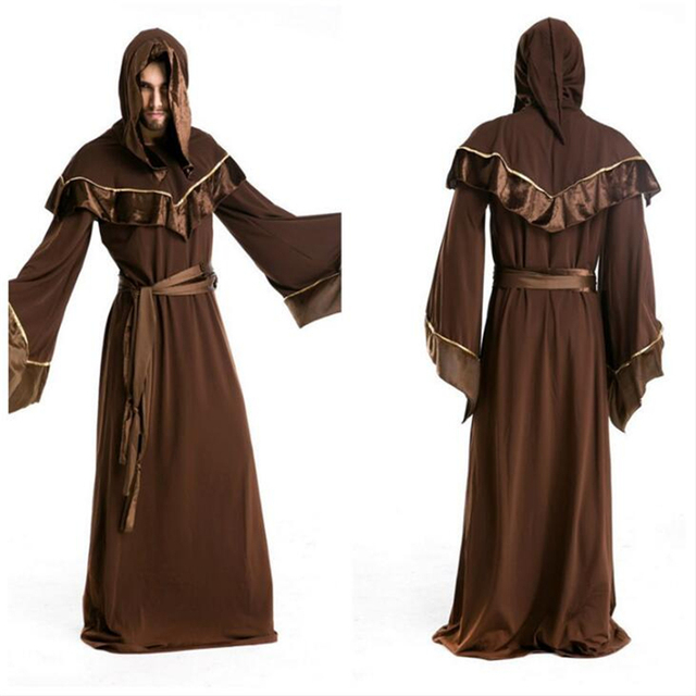 9bcb53489c Christianity Followers Minister Renaissance Priest Robe Sacred Cosplay  Costume Magician Clothing Free Shipping