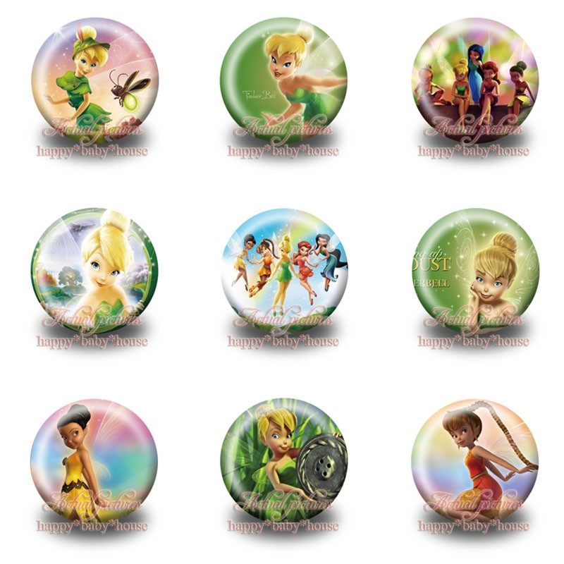 Hot 90pcs Tinker Bell Cartoon Buttons Pins Badges Novelty Round Badges,30mm Diameter,accessories For Clothing/bags,child Gifts Luggage & Bags