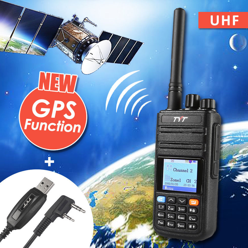 TYT Tytera MD-380G GPS UHF 400-480 mhz DMR Digitale Radio Walkie Talkie Prosciutto Ricetrasmettitore con md380 USB di Programmazione cavo CD