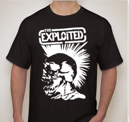 THE EXPLOITED Mohawk Skull Punk Rock Hardcore Thrash Band T Shirt ...