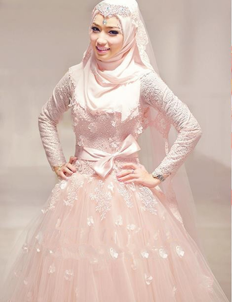Sexy high neck floor length long sleeve blush pink muslim for Muslim wedding dress photo