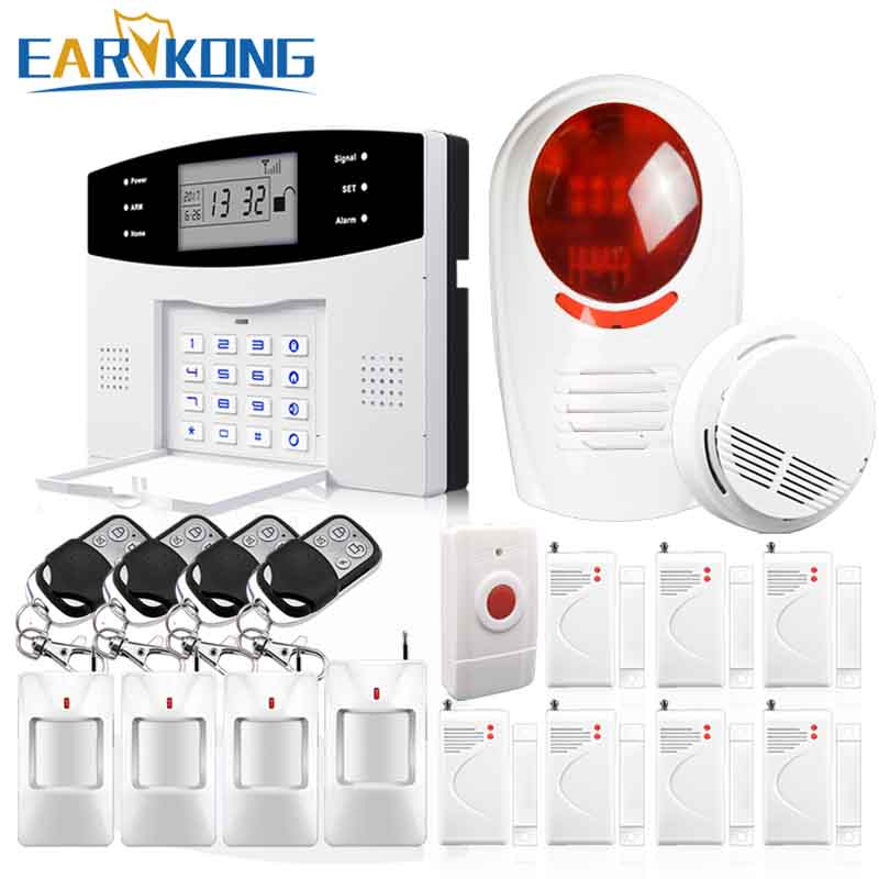 DHL Free Shipping English Russian Spanish French Voice Wireless GSM Flash Siren Home Security Alarm Systems