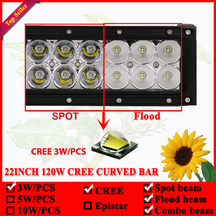 22 inç 120W shirit LED dritë e lakuar për Offroad 4X4 Led Lampë - Dritat e makinave - Foto 3