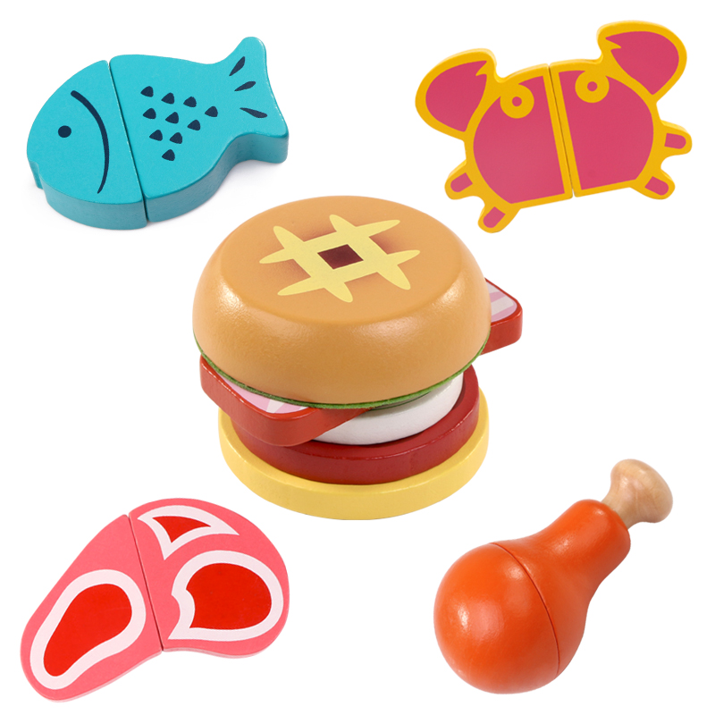 Logwood Baby Wooden Kitchen Toys Cutting Fuit And Vegetable Play Miniature Food Game Fish Hamburgers Early Educational Baby Gift