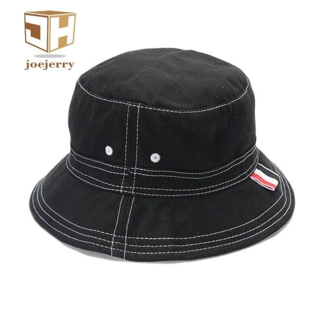 72fbbabb7ae joejerry Fashion Plain Bucket Hat Black Summer Fishing Hat High Quality  Cotton Bob Cap Sprots Chapeau Panama Sunhat
