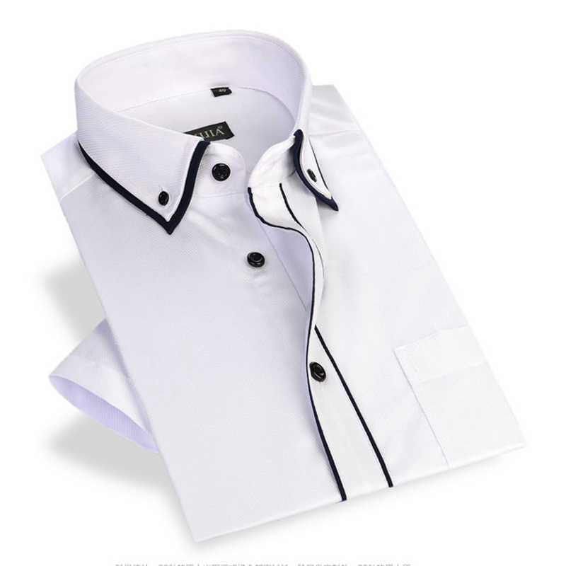 Button Down Collar Men's Short Sleeve Shirts Black Edge Slim Fit Male Dress Shirt