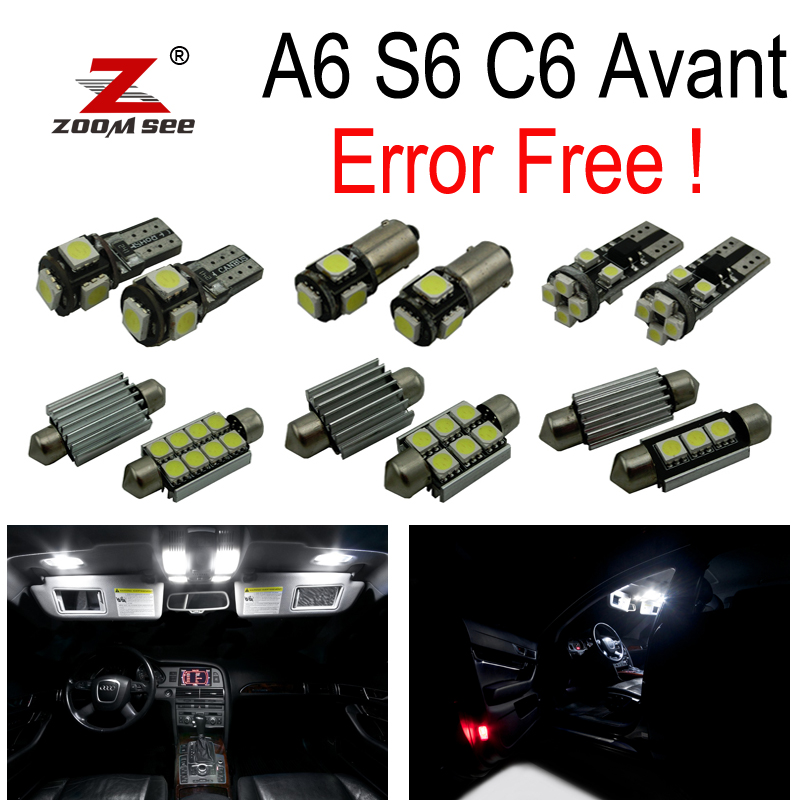 18pc X 100% No Error LED Interior Dome Map Reading Light Kit Package for 2005-2011 Audi A6 S6 RS6 C6 Avant Wagon 15pcs led bulb interior dome light kit for mercedes c class s205 estate wagon c160 c180 c200 c220 c250 c300 c350 c400 c450 2015