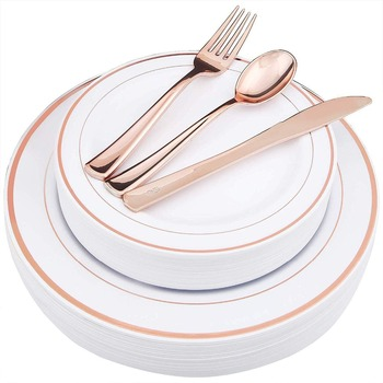 Disposable 125 Pieces Rose Gold Plastic Silverware Set, Disposable Plastic Plates dinnerware Plastic Place Set for Wedding Party