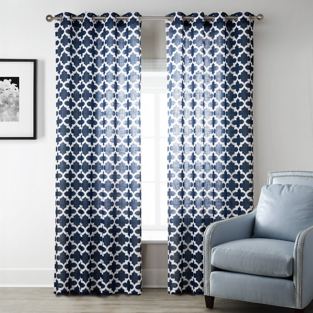 Blue modern style bedroom curtains printed geometric for Space curtain fabric