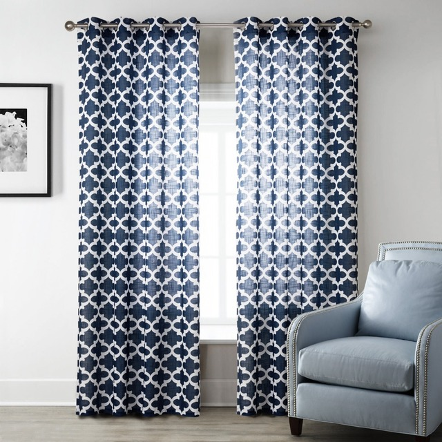 Blue Modern Style Bedroom Curtains Printed Geometric For Living Room Sheer Curtain Fabric Home Textiles