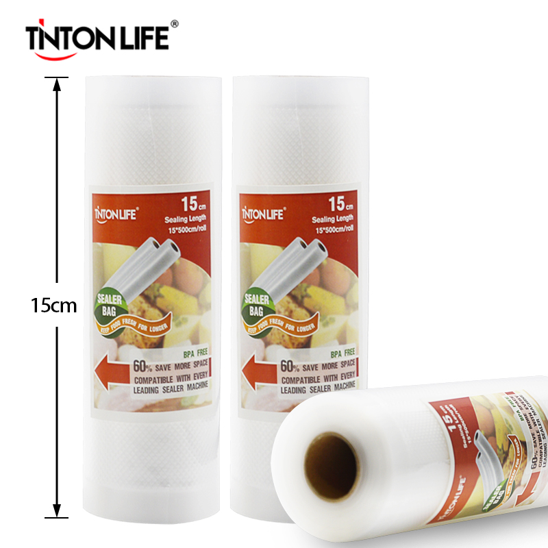 TINTON VIDA 15 CM x 500 CM/Rolos Aferidor Do Vácuo Sacos de Armazenamento De Alimentos Envoltório de Saran
