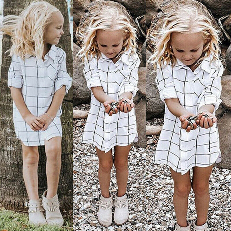 T-Shirt Half-Sleeve Toddler Baby-Girls Kids Summer Plaid Outfits Button-Base Hot-Sale