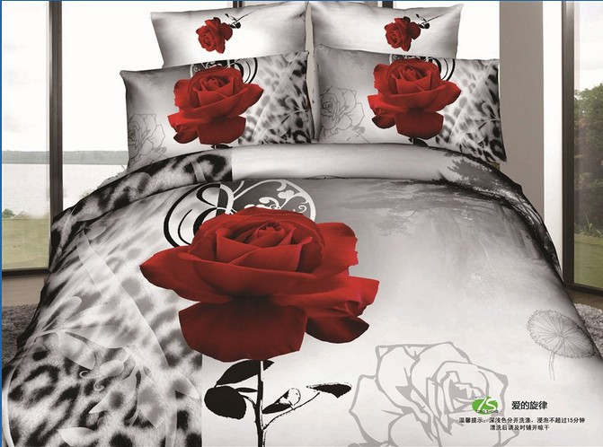 Modern red rose white leopard skin girls cotton queen size for Lit queen size taille