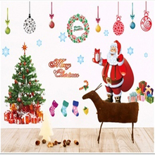 Christmas Xmas Tree Santa Claus PVC Wall Stickers new year christmas Home decoration livingroom Kid Room decor wall sticker-9z