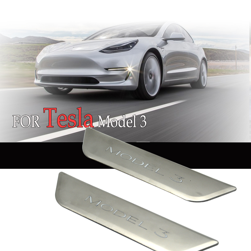 karcng 2 PCS SET Stainless steel Door Sill Welcome Welter Protection Strip for Tesla Model 3 Front Door in Nerf Bars Running Boards from Automobiles Motorcycles
