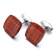 Luxury Wood Cufflinks High Quality Brand Jewelry Square Rosewood Cuff links For Mens Best Gift Formal Business wedding cufflink