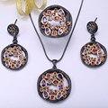 Zhe fan aaa zirconia joyería de las mujeres de lujo de oro negro color 3 piezas de Anillo Del Pendiente Del Collar Del Partido de San Valentín Regalo del Día de Tamaño 7 8 9